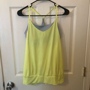 GAP Neon Yellow Athletic Tank Top w/ Built in Bra